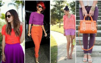 Как правильно сочетать цвета в одежде коралловый с фиолетовым