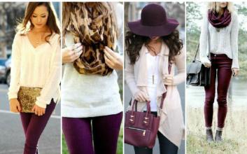 Как правильно сочетать цвета в одежде белый со сливовым