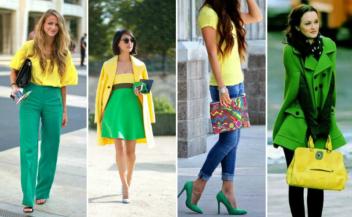 Как правильно сочетать цвета в одежде зеленый-желтый