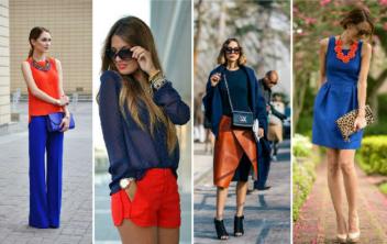 Как правильно сочетать цвета в одежде синий-оранжевый