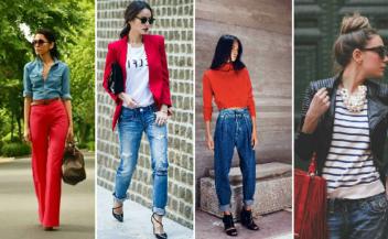 Как правильно сочетать цвета в одежде джинс-красный