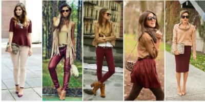 Как правильно сочетать цвета в одежде бордовый-бежевый