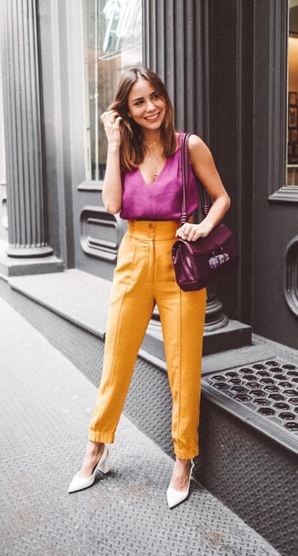 офисный лук на каждый день желтые брюки