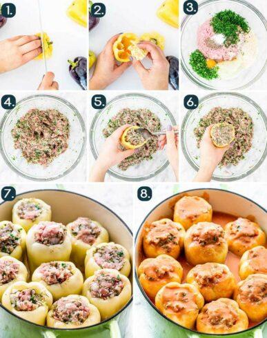 этапы приготовления перца фаршированого
